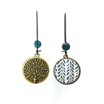 25 mm LOOP EARRINGS  with ceramic bead - Painted Leaves