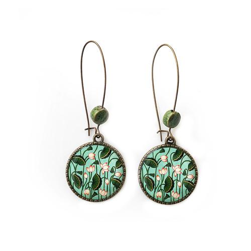 25 mm LOOP EARRINGS  with ceramic bead - Lotus Pichwai