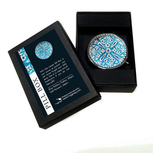 PILL BOX ROUND - Blue pottery