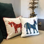 Art Cushion Cover 12 x 12 - Bhil Horse Blue