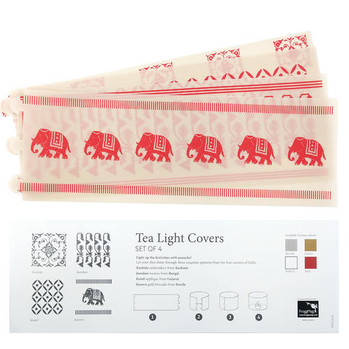 TEA LIGHT COVERS - Red textile