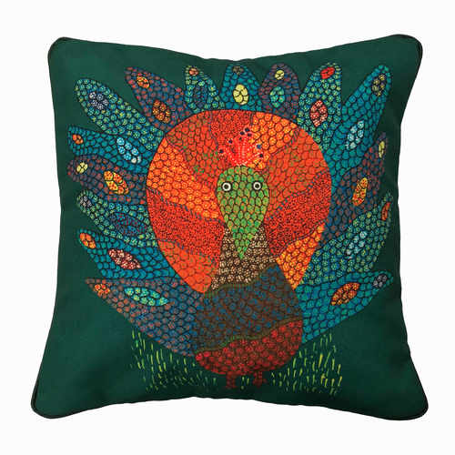 Art Cushion Cover 12 x 12 Gond Peacock