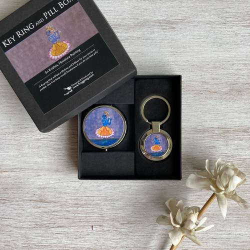 KRISHNA - PILL BOX and KEY RING - Gift Box