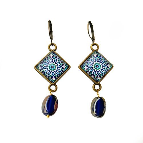 Hanging Earrings with Bead - Mosaic - Islamic Patterns