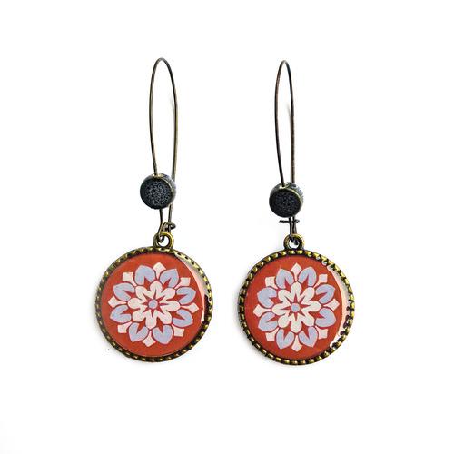25 mm LOOP EARRINGS  with ceramic bead - Mural, City Palace Jaipur