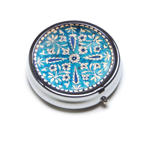 PILL BOX ROUND - Round _ Blue pottery