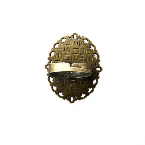 Adjustable Oval Ring - Lotus Pichwai