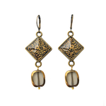 Hanging Earrings with Bead - Gold Leaf Painted Medallion - Kashmir