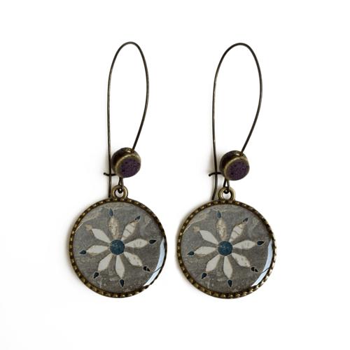 25 mm LOOP EARRINGS  with ceramic bead - INLAYED FLOOR, ORCHCHA