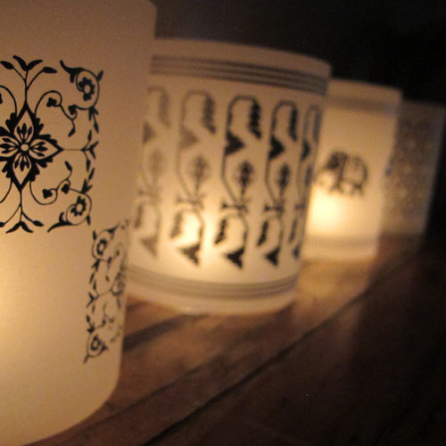 TEA LIGHT COVERS - Silver textile