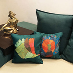 Art Cushion cover 12 x 12  - Gond Peahen