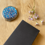 Pocket Compact Mirror - Blue Pottery