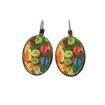Oval, Lever back earrings   Naqashi, Kashmir - Hazara