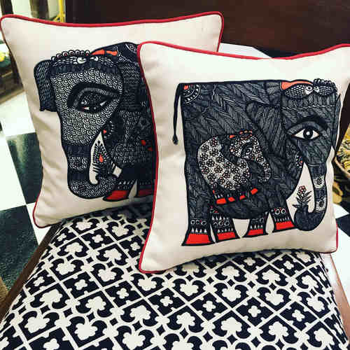 Art Cushion Cover 12 x 12 - Madhubani Elephant