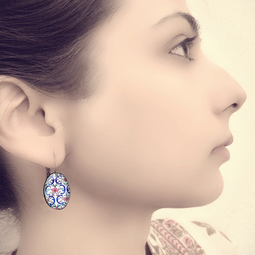 OVAL EARRINGS 18 x 14 mm - City Palace Mural