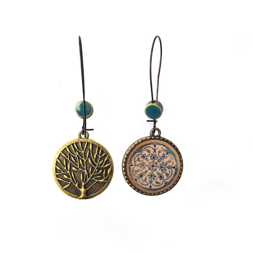 25 mm LOOP EARRINGS  with ceramic bead - Turquois inlay Medallion, Orchcha