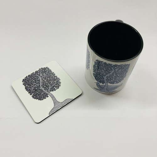 MUG With Coaster - Gond Forest