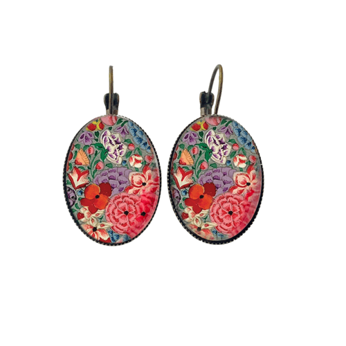 Oval Lever back earrings - Naqashi, Kashmir - Hazarposh