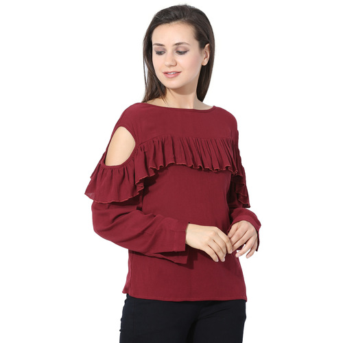 Albely Maroon Solid Blouse