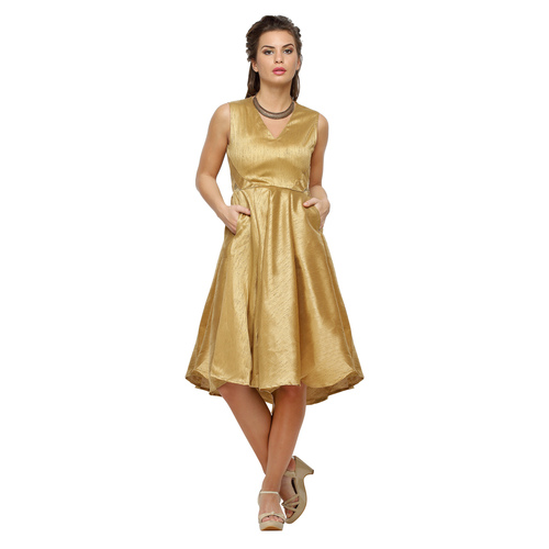 Amelia Women's Fit and Flare Gold Dress