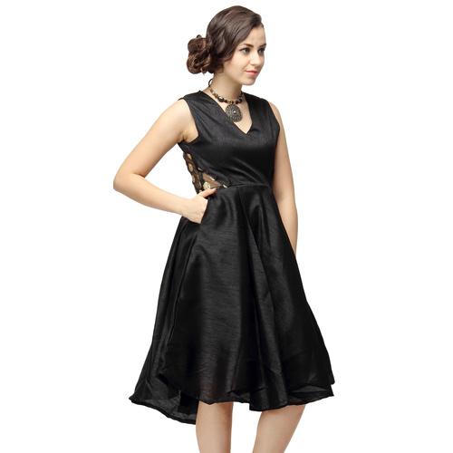 Stella Black Silk Party Dress