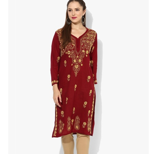 Albely Maroon Embroidered Kurta
