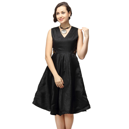 Stella Black Silk Party Dress