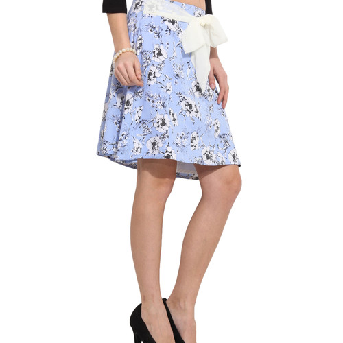 Albely Blue Printed A-Line Skirt