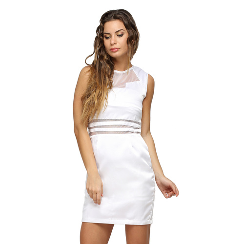 White Elena Satin Short Dress