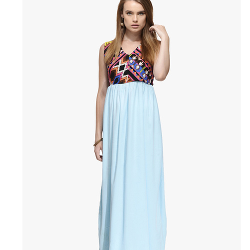Albely Aqua Blue Printed Maxi Dress