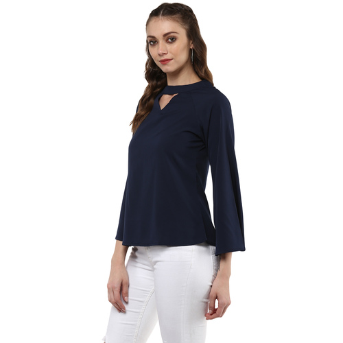 Albely Navy Blue Solid Blouse
