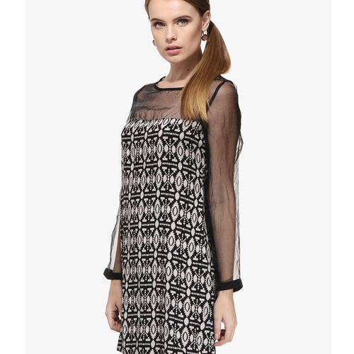 Albely Black Printed Shift Dress