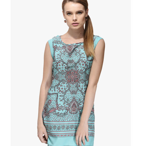 Albely Turquoise Printed Tunic
