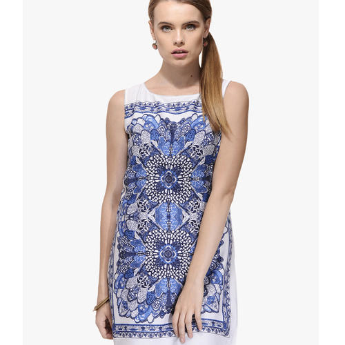 Albely Blue Printed Shift Dress