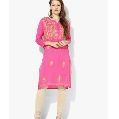 Albely Pink Embroidered Kurta
