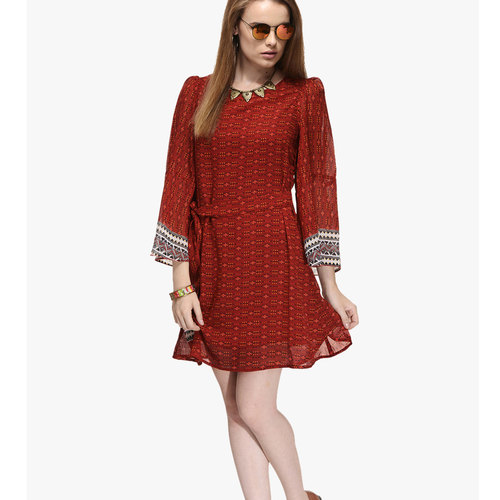 Albely Maroon Printed Shift Dress