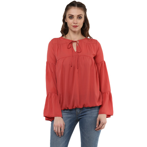 Albely Red Solid Blouse