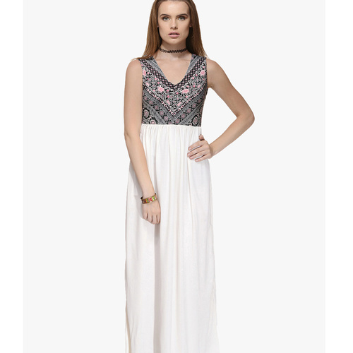 Albely Off White Printed Maxi Dress