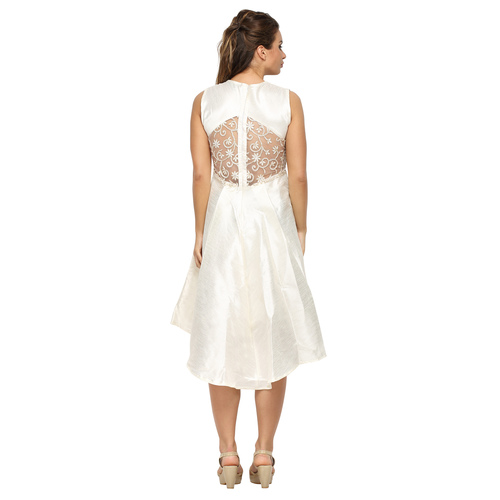 White Ariel Lace Flared Dress