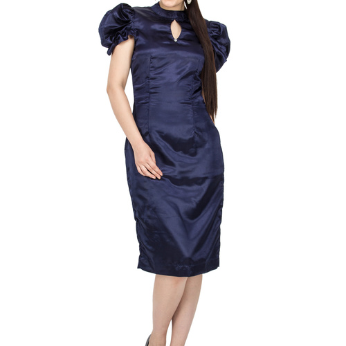 Nicole Blue Satin Sheath Dress