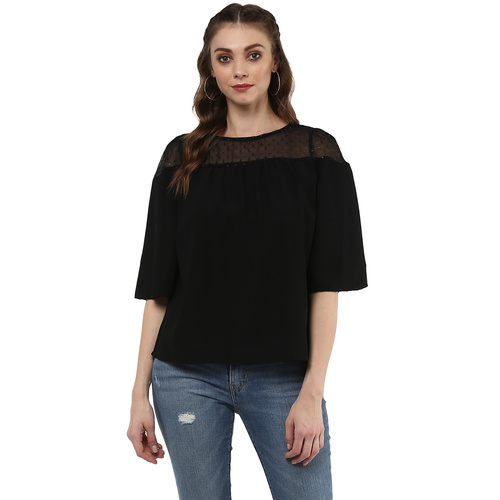 Albely Black Sheer Top