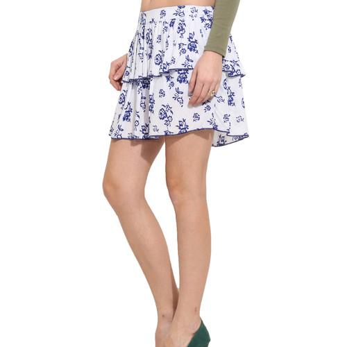 Albely White Printed Flared Skirt
