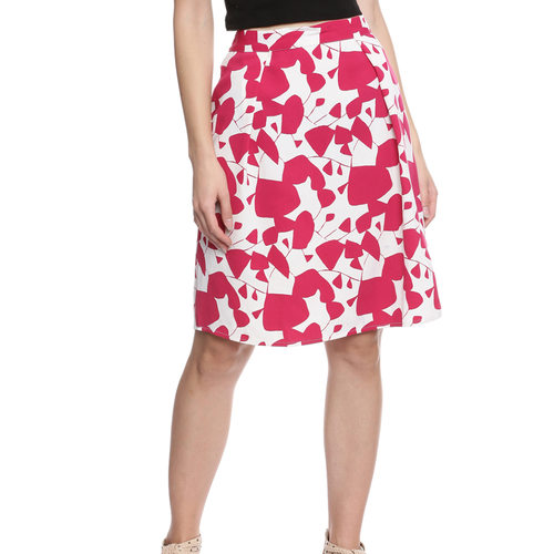 Ciara Printed Women's Pleated Pink Skirt