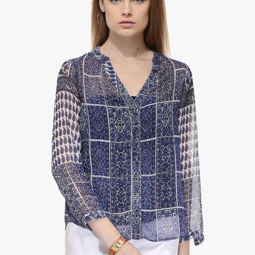 Sara Paisley Blue Shirt
