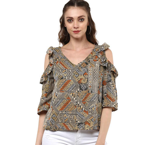 Multicolored Cold Shoulder Albely Top