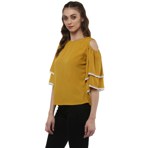 Albely Mustard Yellow Solid Blouse