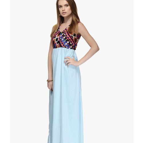 Albely Aqua Blue Printed Maxi Dress