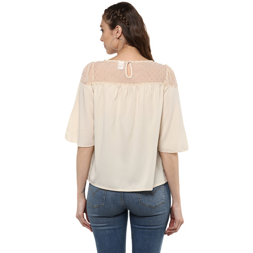 Albely Beige Self Pattern Blouse