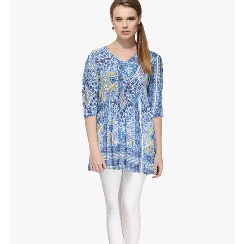 Albely Blue Printed Tunic
