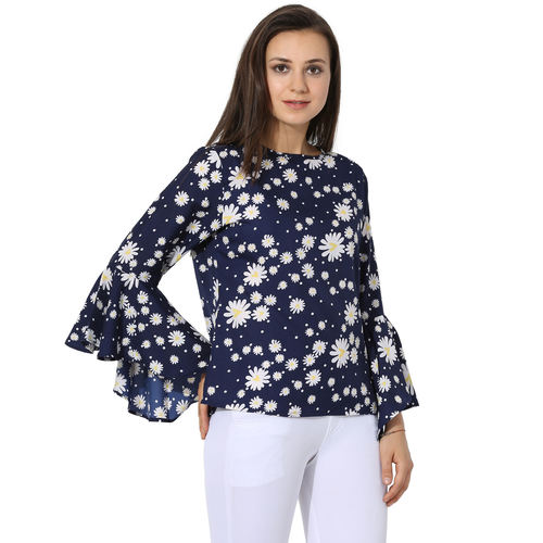 Albely Navy Blue Printed Blouse